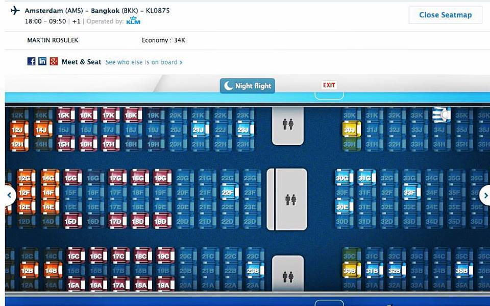 KLM let z Evropy do Thajska