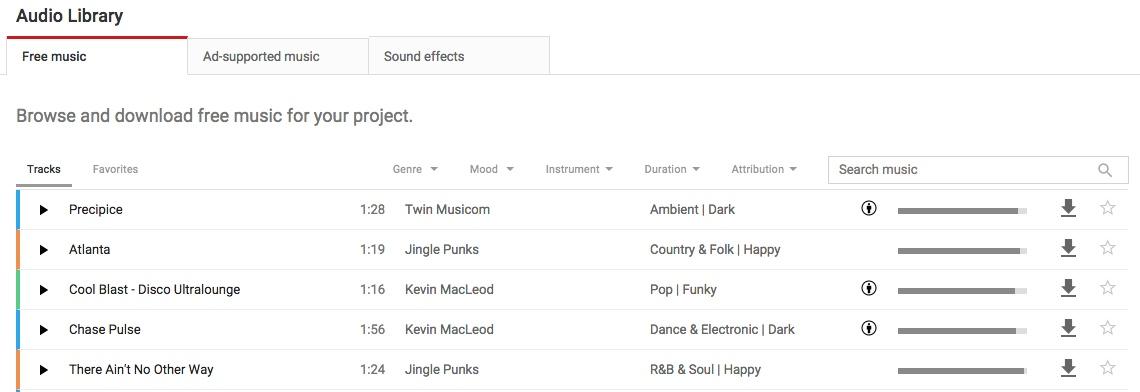 Hudební banka YouTube Royalty free music