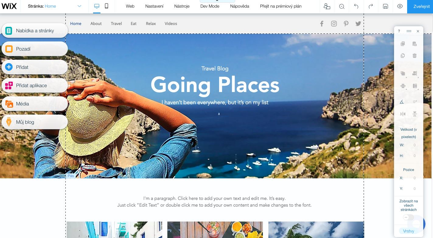 wix administrace tvorba webu
