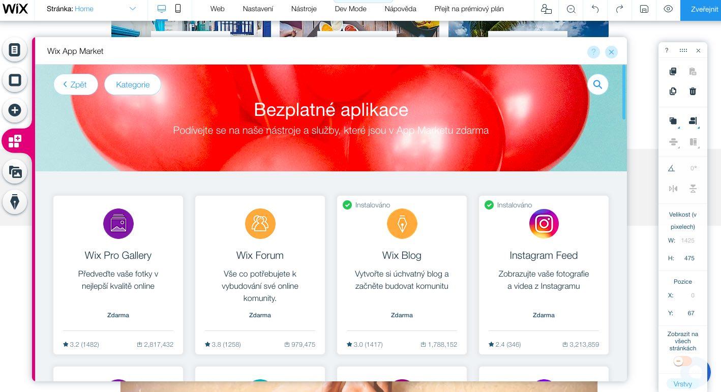 wix app market aplikace