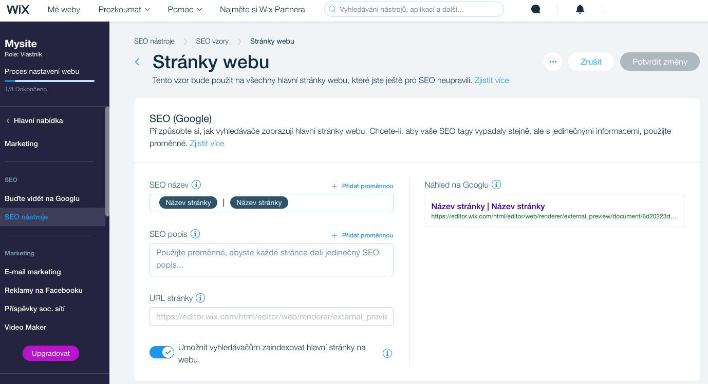 wix seo nástroje google