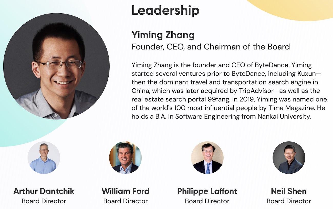 Yiming Thang CEO TikTok
