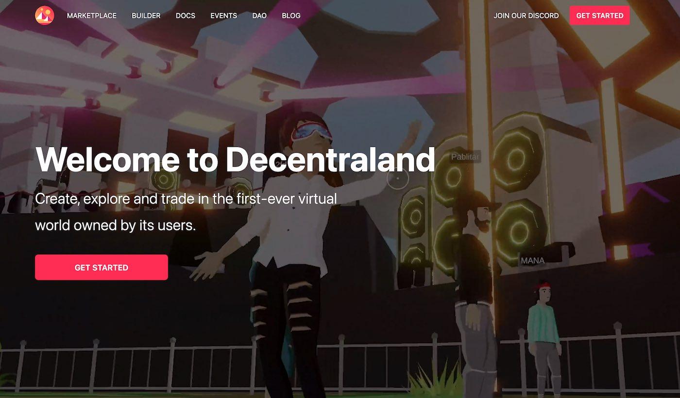 virtuální svět decentraland