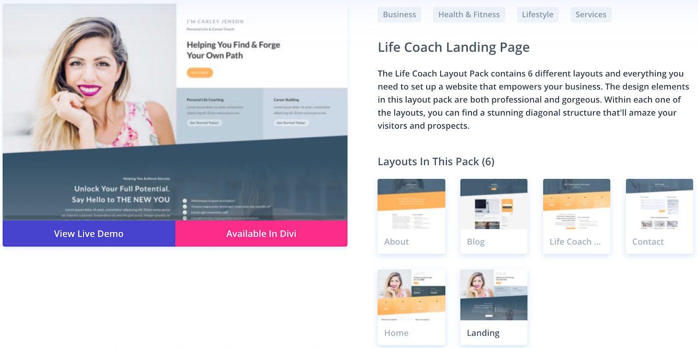 divi šablona wordpress lifecoach