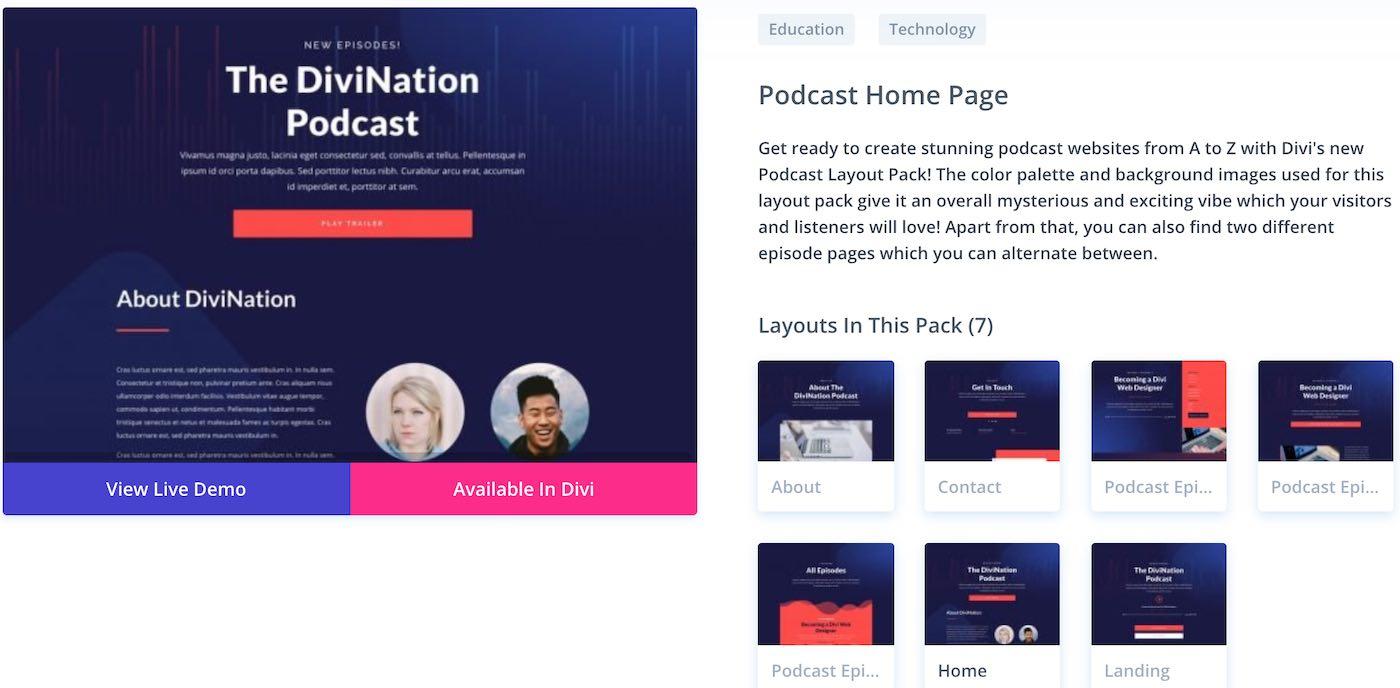 divi šablona wordpress pro podcast